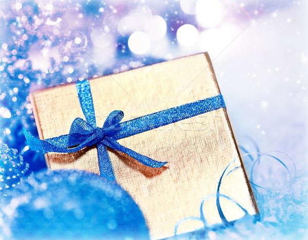 Stockfoto: Gouden · Blauw · christmas · geschenk · decoraties · geschenkdoos