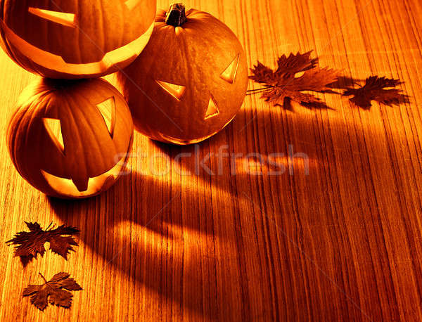 Halloween glowing pumpkins border Stock photo © Anna_Om