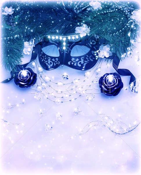 Carnaval máscara fronteira imagem azul Foto stock © Anna_Om