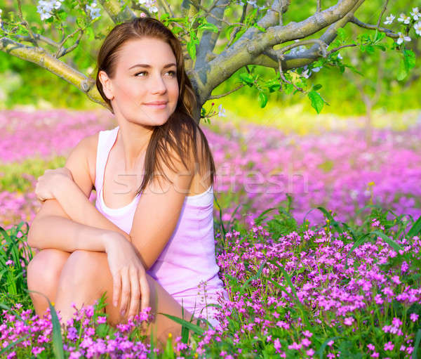 Sevimli kız bahçe portre güzel Stok fotoğraf © Anna_Om