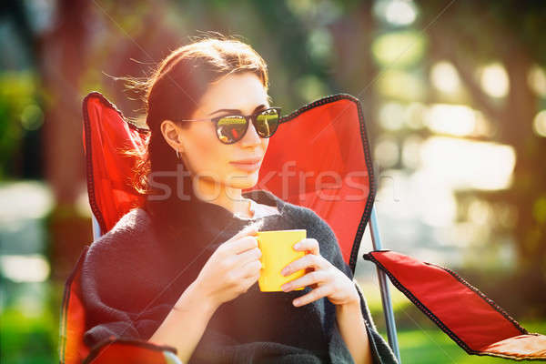 Calm female relaxing outdoors Stock photo © Anna_Om
