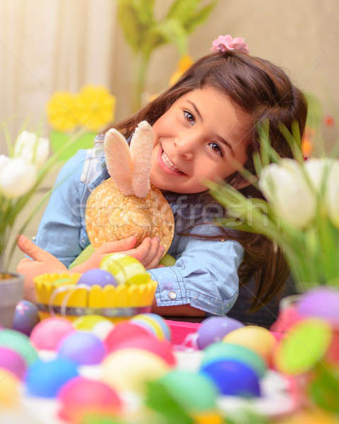Happy girl with Easter bunny toy Stock photo © Anna_Om