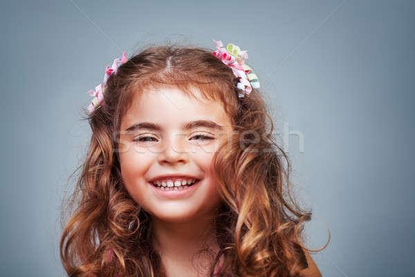 Aranyos boldog kislány közelkép portré derűs Stock fotó © Anna_Om
