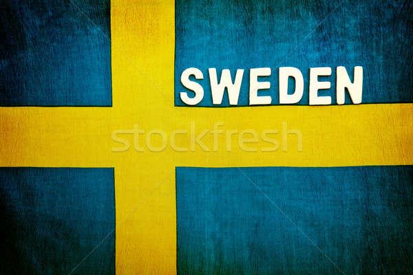 Zászló Svédország szimbólum absztrakt űr szöveg Stock fotó © Anna_Om