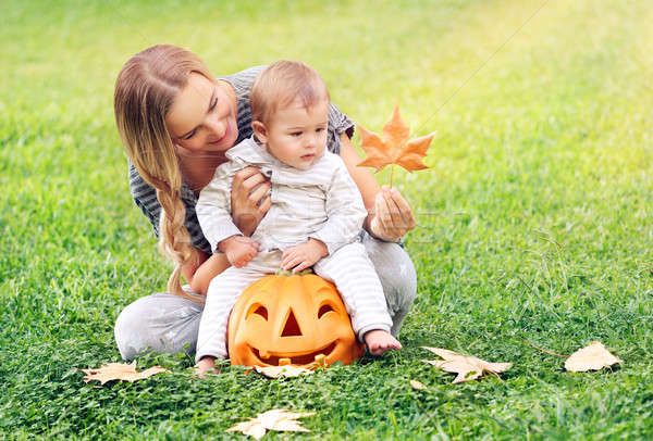 Happy mother with son celebrates Halloween Stock photo © Anna_Om