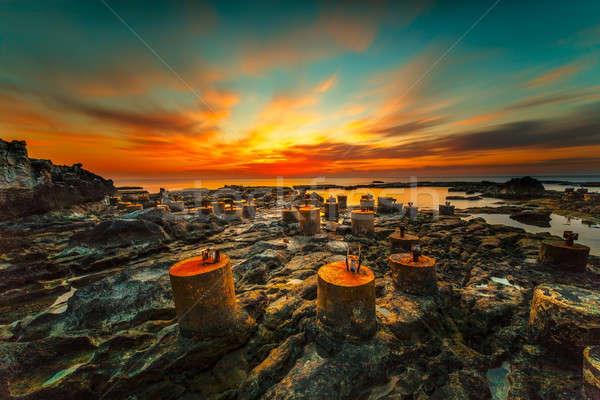 Foto stock: Surpreendente · pôr · do · sol · ver · belo · laranja · noite