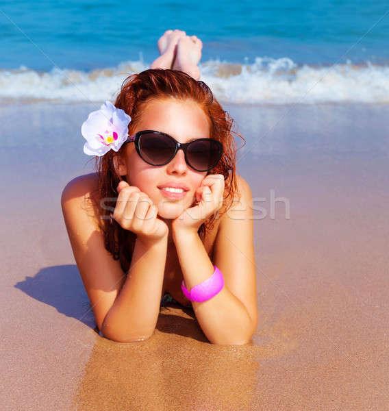 Beautiful female on the beach Stock photo © Anna_Om