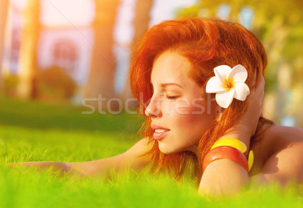 Nő élvezi nyár természet profil vonzó nő Stock fotó © Anna_Om