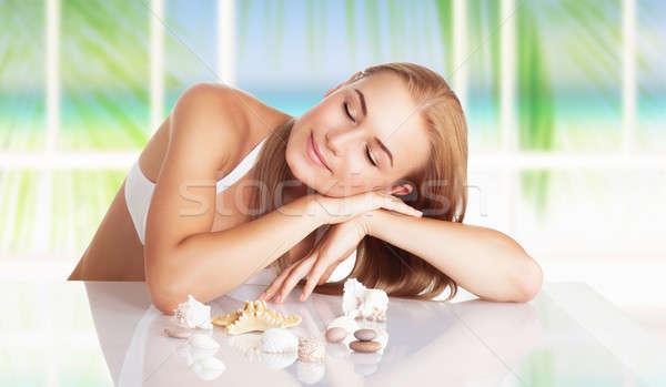 Frau spa Resort Porträt schönen blond Stock foto © Anna_Om