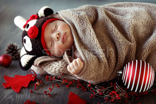 Sweet baby boy sleeping in Christmas eve Stock photo © Anna_Om