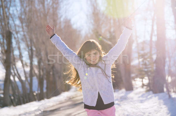 Cheerful girl running Stock photo © Anna_Om