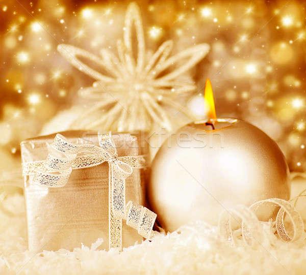 Karácsony dekoráció ünnep háttér gyertya ajándék Stock fotó © Anna_Om