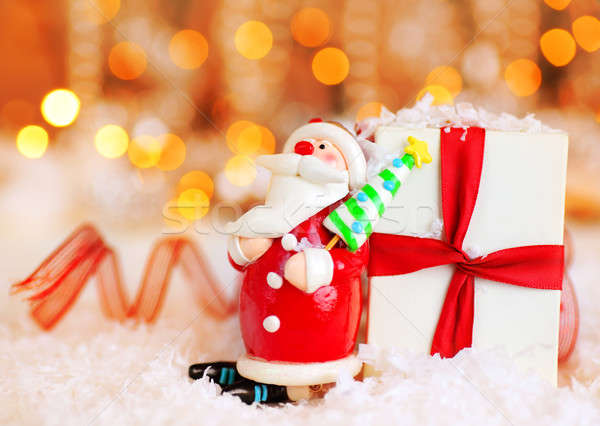 Stock photo: Holiday background with cute Santa decoration