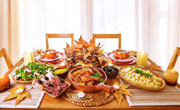 Cena home ringraziamento giorno celebrazione Foto d'archivio © Anna_Om