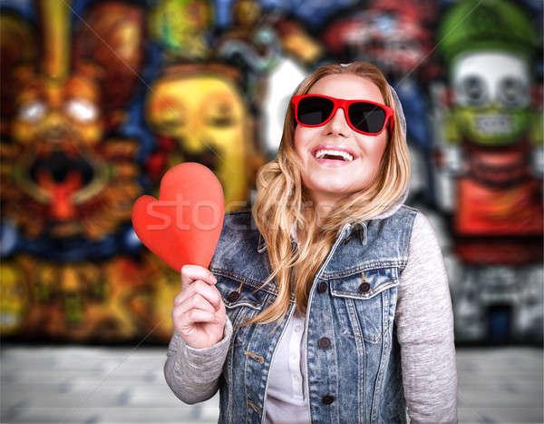 ファンキー 十代の少女 愛 屋外 手をつない ストックフォト © Anna_Om