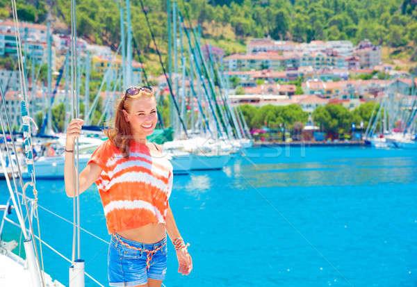 Cute ragazza yacht porto Foto d'archivio © Anna_Om