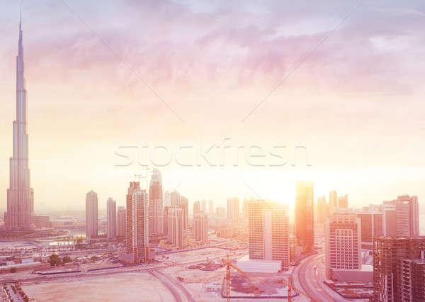 Stock photo: Beautiful sunset over Dubai city