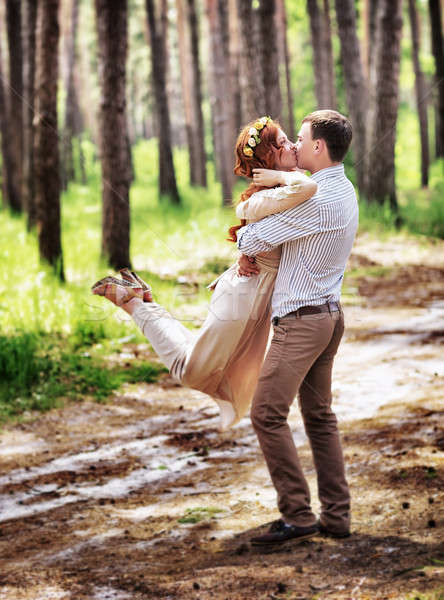 Happy couple in the forest Stock photo © Anna_Om