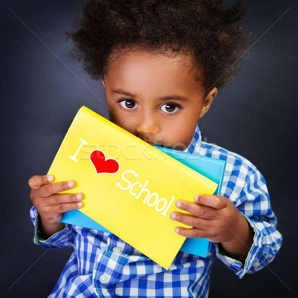 Afrikai iskolás fiú portré aranyos kicsi gyermek Stock fotó © Anna_Om