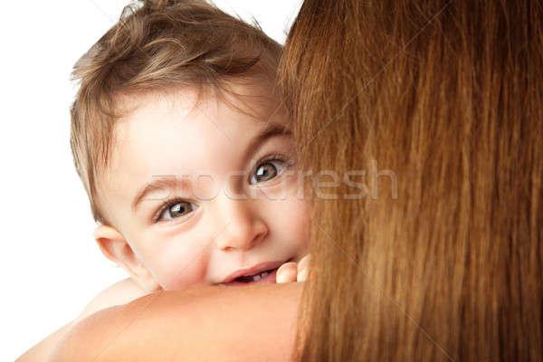 Baby jongen spelen kiekeboe cute weinig Stockfoto © Anna_Om