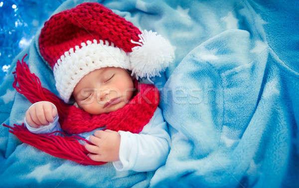 Cute baby boy sleeping in Santa hat Stock photo © Anna_Om
