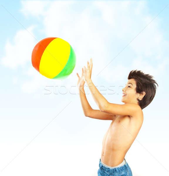 Ballon de plage ciel bleu Kid extérieur Photo stock © Anna_Om
