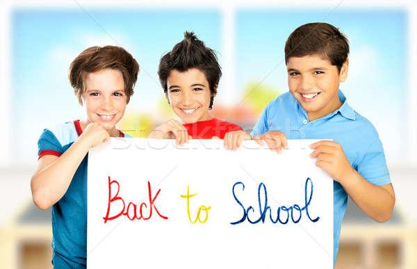 три одноклассник мальчики играет классе Лучшие друзья Сток-фото © Anna_Om