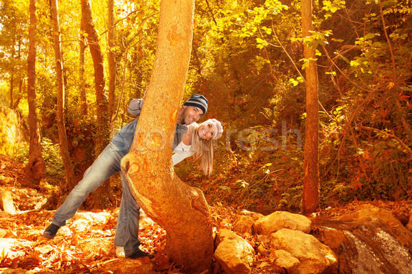 Young family in fall forest Stock photo © Anna_Om