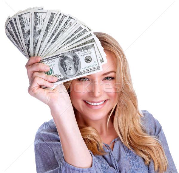 Nyerő pénz portré vonzó derűs női Stock fotó © Anna_Om