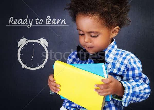 Stockfoto: Schooljongen · boeken · cute · afro-amerikaanse · jongen · handen