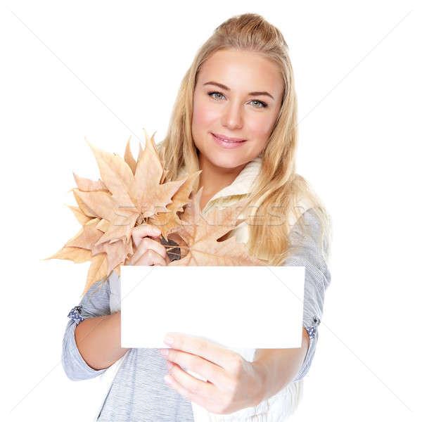 ストックフォト: 美人 · 秋 · 花束 · 孤立した · 白 · 手をつない