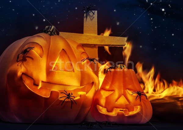Raccapricciante halloween notte zucca scary Foto d'archivio © Anna_Om