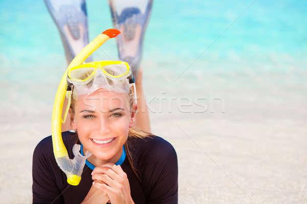 Buzo nina playa feliz mujer Foto stock © Anna_Om