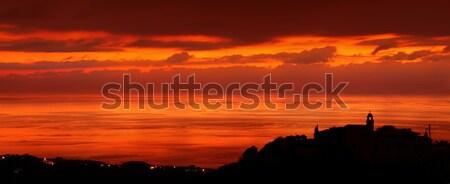 Kust stad zonsondergang licht silhouet weinig Stockfoto © Anna_Om