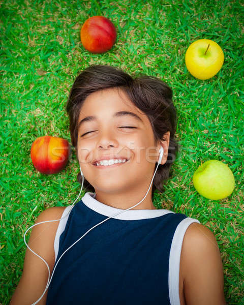 Happy boy listening to music Stock photo © Anna_Om