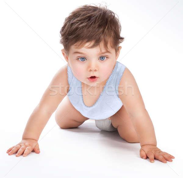 édes baba kúszás portré aranyos stúdió Stock fotó © Anna_Om