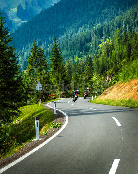 Group of motorcyclists in Alpine mountains Stock photo © Anna_Om