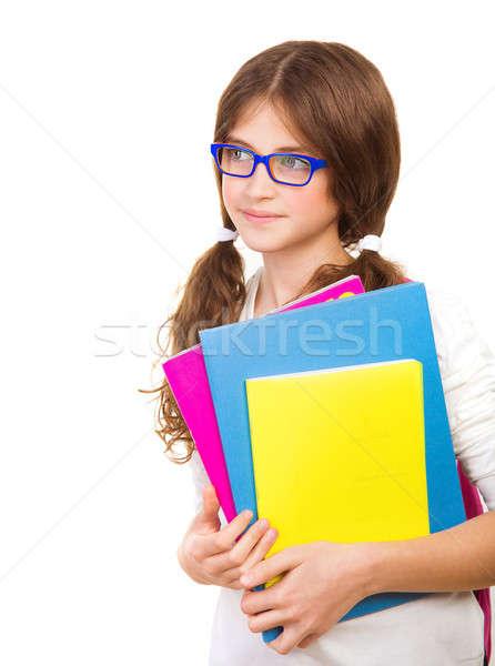 Gelukkig schoolmeisje geïsoleerd witte cute brunette Stockfoto © Anna_Om