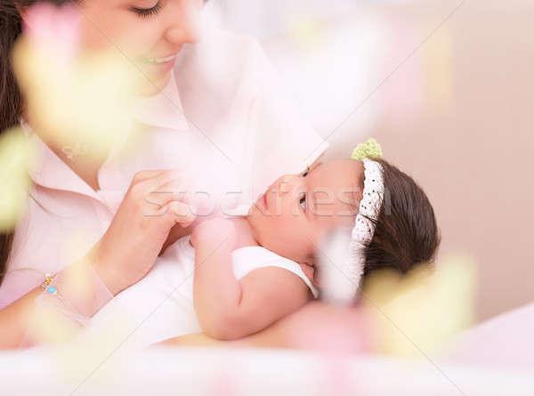 Szczęśliwy macierzyństwo cute młodych matka patrząc Zdjęcia stock © Anna_Om