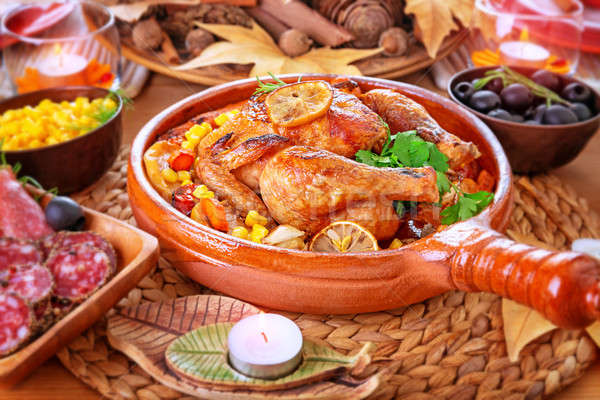 Traditional Thanksgiving day dinner Stock photo © Anna_Om