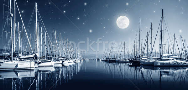 Yacht harbor at night Stock photo © Anna_Om