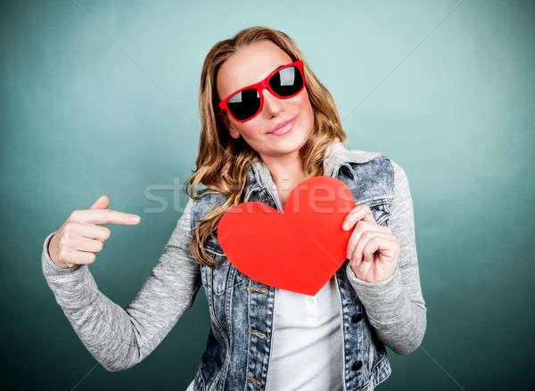 Stock photo: Woman with romantic postcard