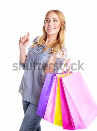 Cheerful female with paper bags Stock photo © Anna_Om