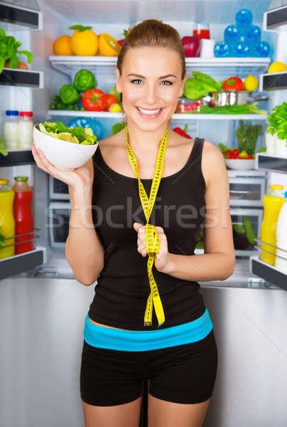 Menina alimentação saudável retrato belo alegre Foto stock © Anna_Om