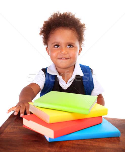 Stock foto: Glücklich · african · Sitzung · hinter · Schreibtisch