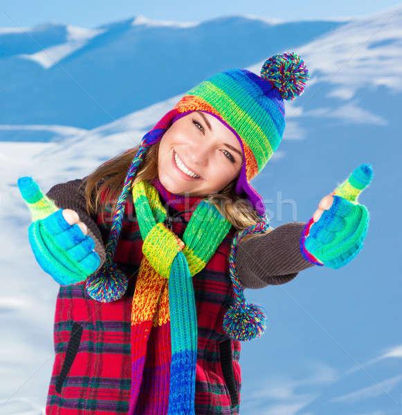 élvezi tél ünnepek portré aranyos mosolyog Stock fotó © Anna_Om