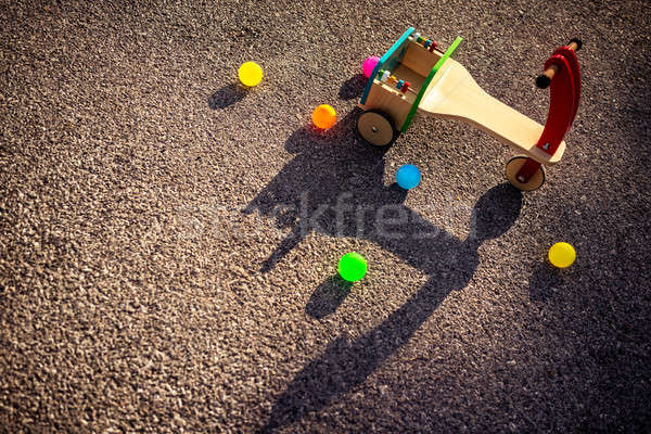 Wooden childish bicycle on playground Stock photo © Anna_Om