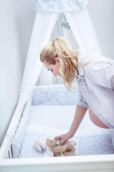 Stock fotó: Boldog · terhes · nő · szoba · baba · otthon · puha