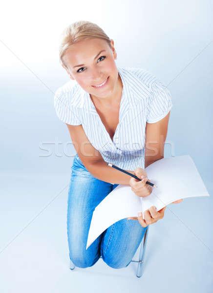 Schoolmeisje schrijven test mooie blond vergadering Stockfoto © Anna_Om