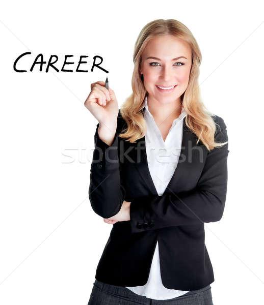 Mujer de negocios retrato atractivo escrito palabra carrera Foto stock © Anna_Om